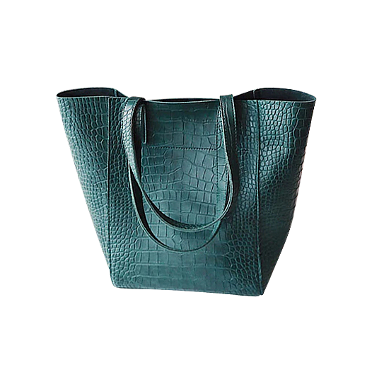 Forest green faux snake tote handbag