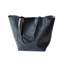 Load image into Gallery viewer, Black faux snake tote handbag