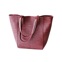 Load image into Gallery viewer, Burgundy red faux snake tote handbag