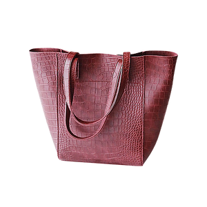Burgundy red faux snake tote handbag
