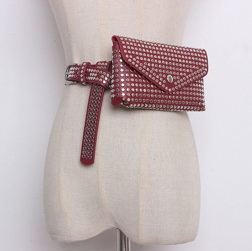 Red Faux Leather Studded Bum Bag