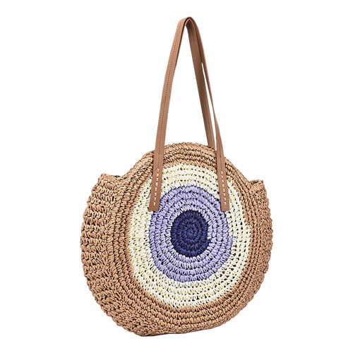 Round beach straw bag
