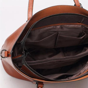 Chocolate brown faux leather shopper bag