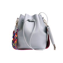 Load image into Gallery viewer, Grey faux leather bucket shoulder bag