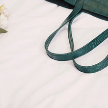 Load image into Gallery viewer, Forest green faux snake tote handbag