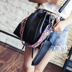 Black faux leather bucket shoulder bag