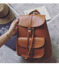 Load image into Gallery viewer, Brown faux leather satchel backpack