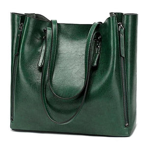 Forest green faux leather shopper bag