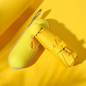 Yellow compact umbrella with case