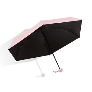 Pink compact folding umbrella with case