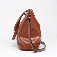 Load image into Gallery viewer, Caramel brown faux leather shopper bag