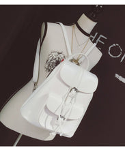 Load image into Gallery viewer, White faux leather satchel backpack