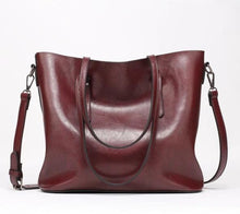 Load image into Gallery viewer, Burgundy red faux leather shopper bag