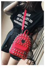 Load image into Gallery viewer, Studded faux leather backpack in red