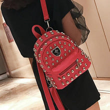 Load image into Gallery viewer, Studded faux leather backpack in black