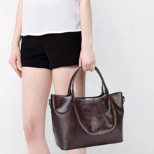 Load image into Gallery viewer, Brown faux leather shopper bag