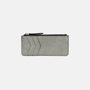 Silver suede cardholder with coin pocket