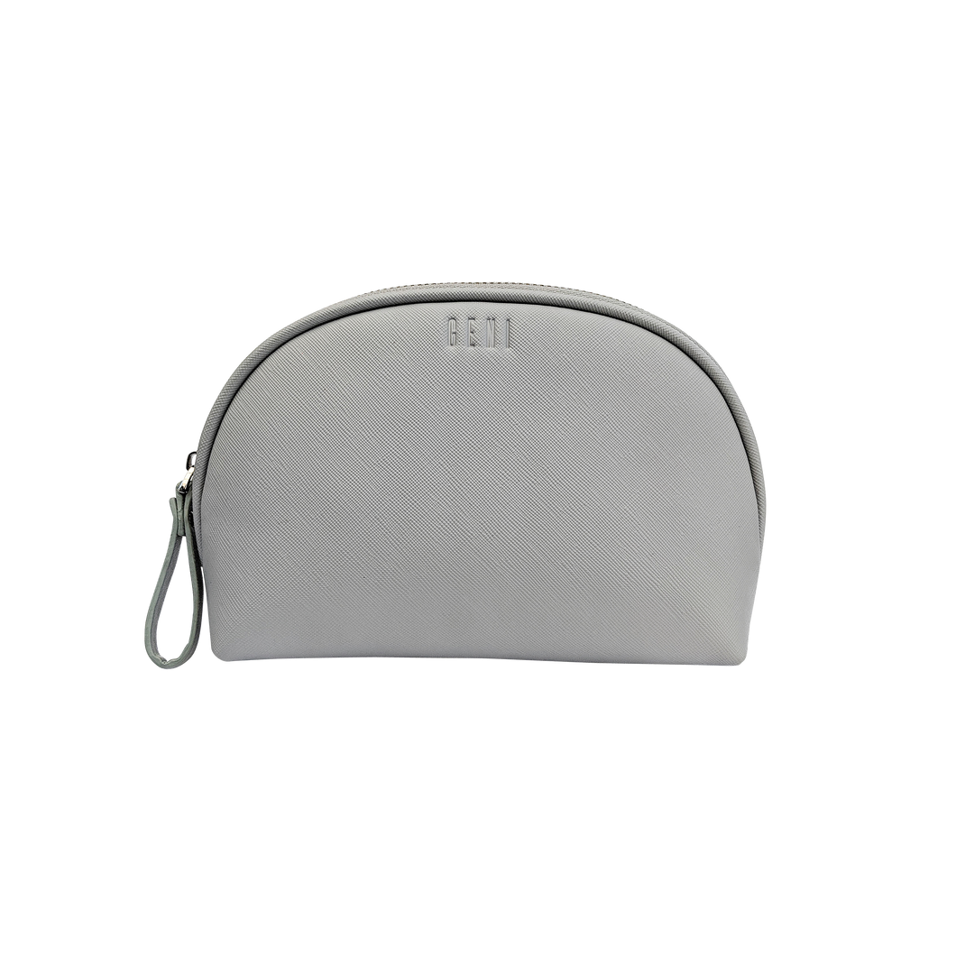 Grey leather makeup bag by Geni