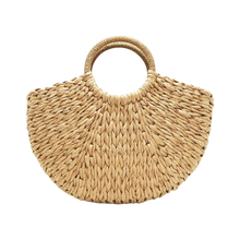 Load image into Gallery viewer, Brown paper straw beach bag