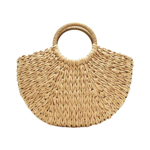 Brown paper straw beach bag
