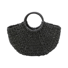 Load image into Gallery viewer, Black paper straw beach bag