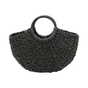 Black paper straw beach bag