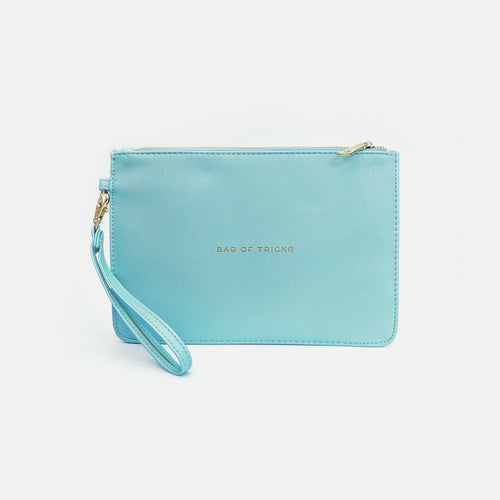 Bag of tricks faux leather blue pouch