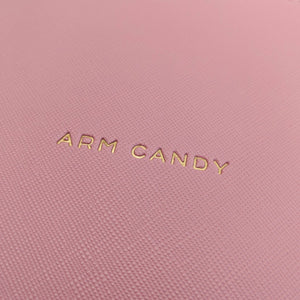 Arm candy faux leather pink pouch