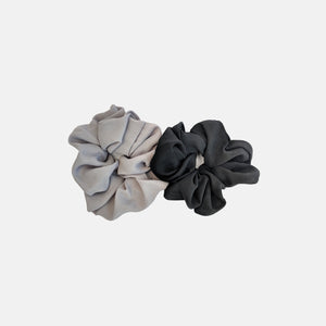 Black and light grey minimal satin scrunchies