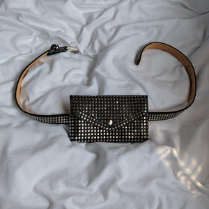 Black Studded Envelope Belt Bag