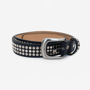 Black Faux Leather Studded Belt