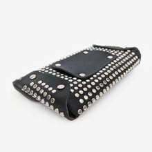 Load image into Gallery viewer, Black Studded Envelope Belt Bag