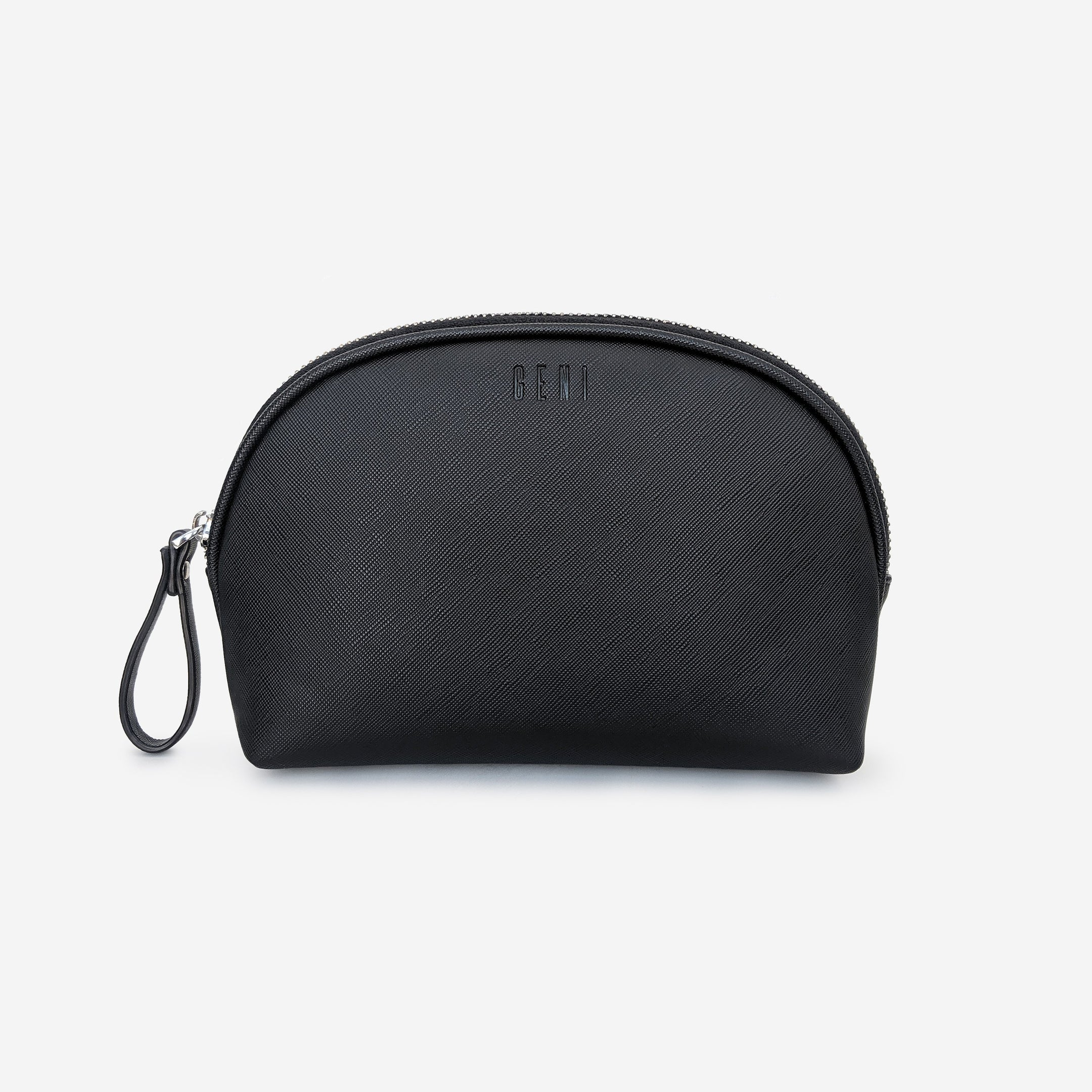 Black leather makeup bag by Geni