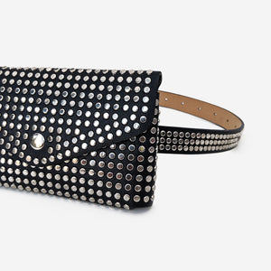 Black Faux Leather Studded Bum Bag