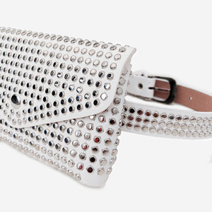 White Faux Leather Studded Bum Bag
