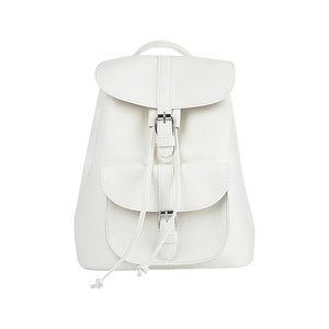White faux leather satchel backpack