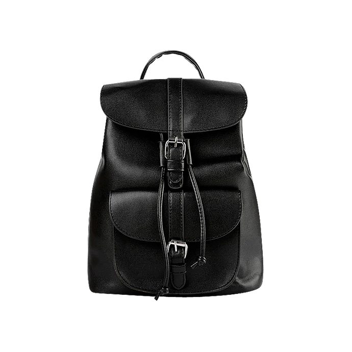 Black faux leather satchel backpack