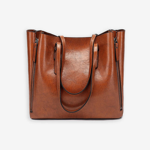 Caramel brown faux leather shopper bag