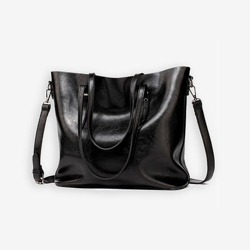 Black faux leather shopper bag
