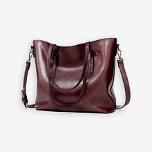 Load image into Gallery viewer, Chocolate brown faux leather shopper bag