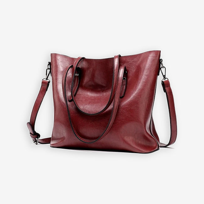 Burgundy red faux leather shopper bag