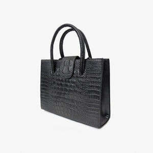Black faux alligator shoulder bag