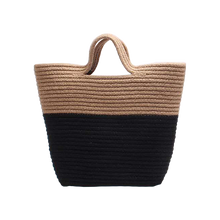 Load image into Gallery viewer, Contrast woven beach bag
