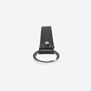 Faux leather key strap in black