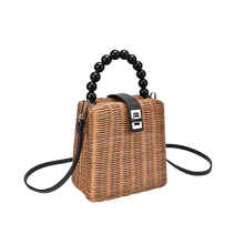 Load image into Gallery viewer, Brown linen straw bag