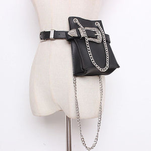 2 in 1 Black Faux Leather Cross Body Belt Bag