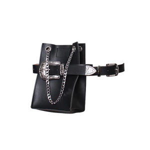 Black Faux Leather Belt Bag