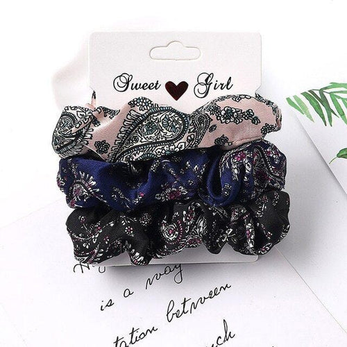 Satin scrunchies set of 3