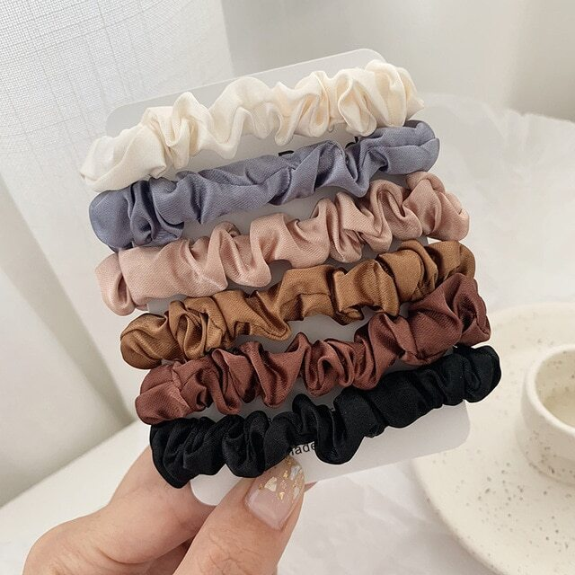 Thin satin scrunchies set of 6