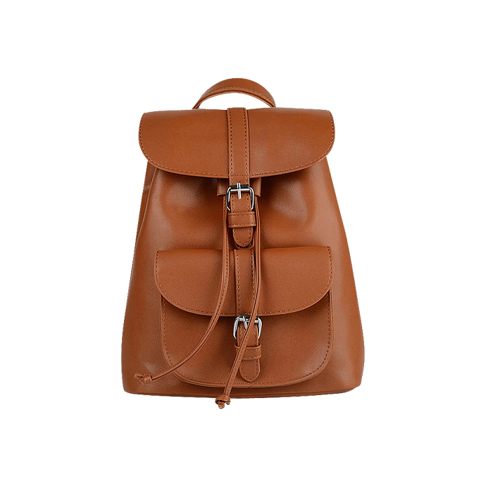 Brown faux leather satchel backpack